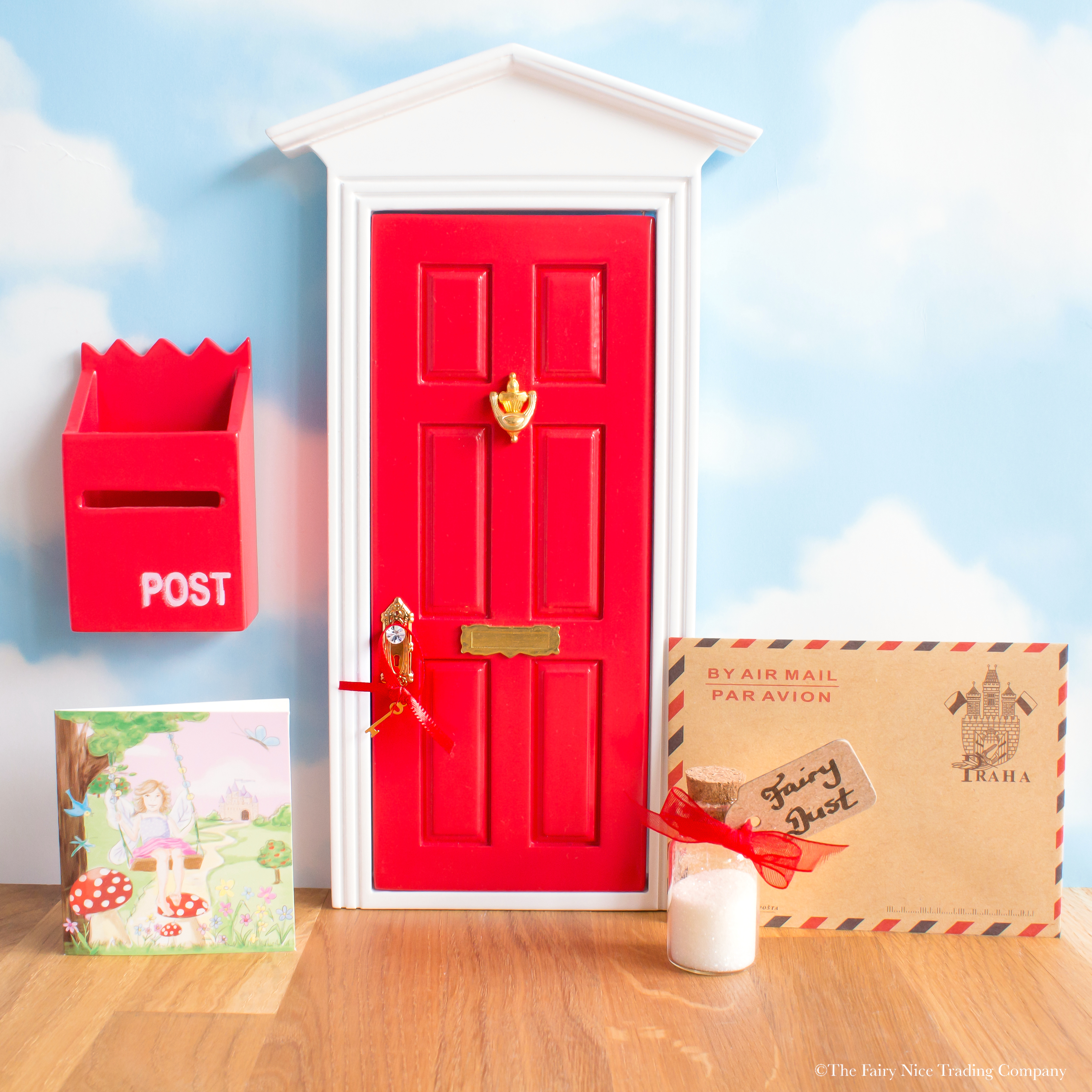 Red fairy door with personalised letter the fairy nice for Red elf door